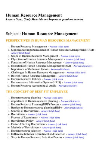 Human resource management - Lecture Notes, Study Materials and