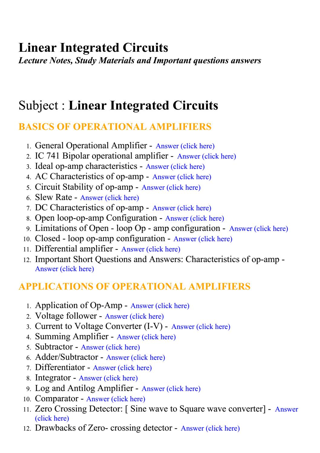 Linear Integrated Circuits Lecture Notes Study Materials And Summing Amplifier Inverting Adder Circuit Using Op Amp 741 Pictures Important Questions Answers By Brainkart Com Issuu