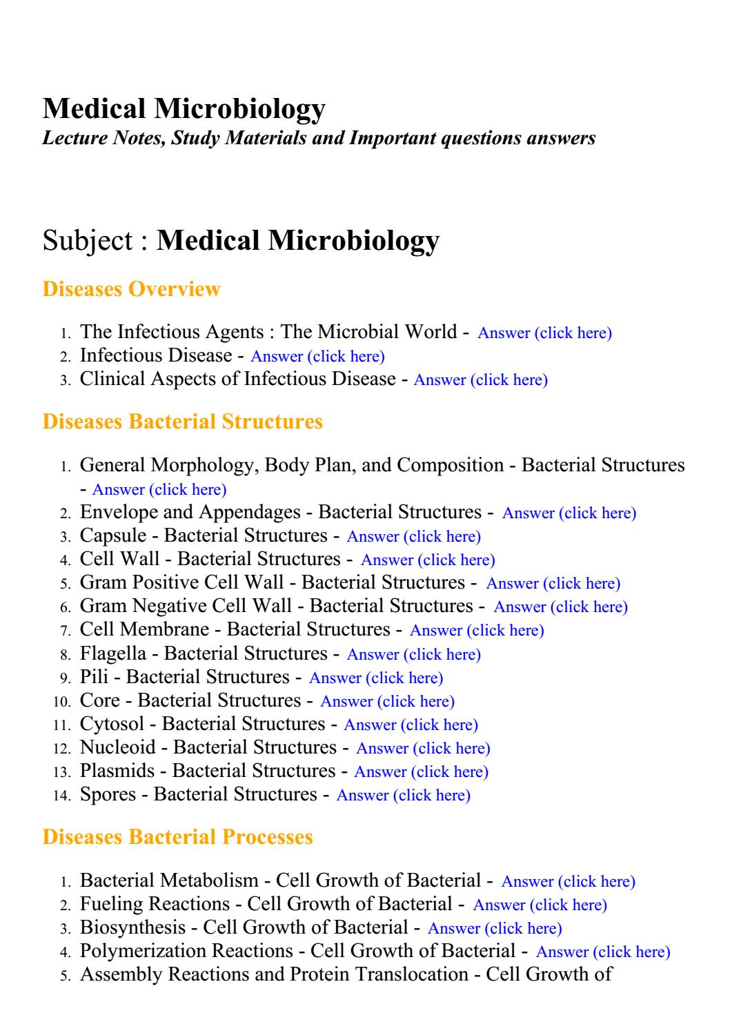 Medical microbiology - Lecture Notes, Study Materials and