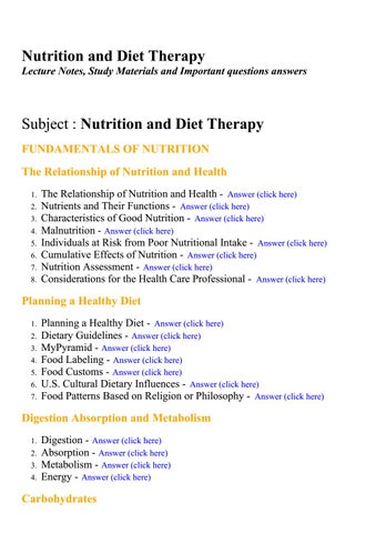 Nutrition and diet therapy - Lecture Notes, Study Materials and