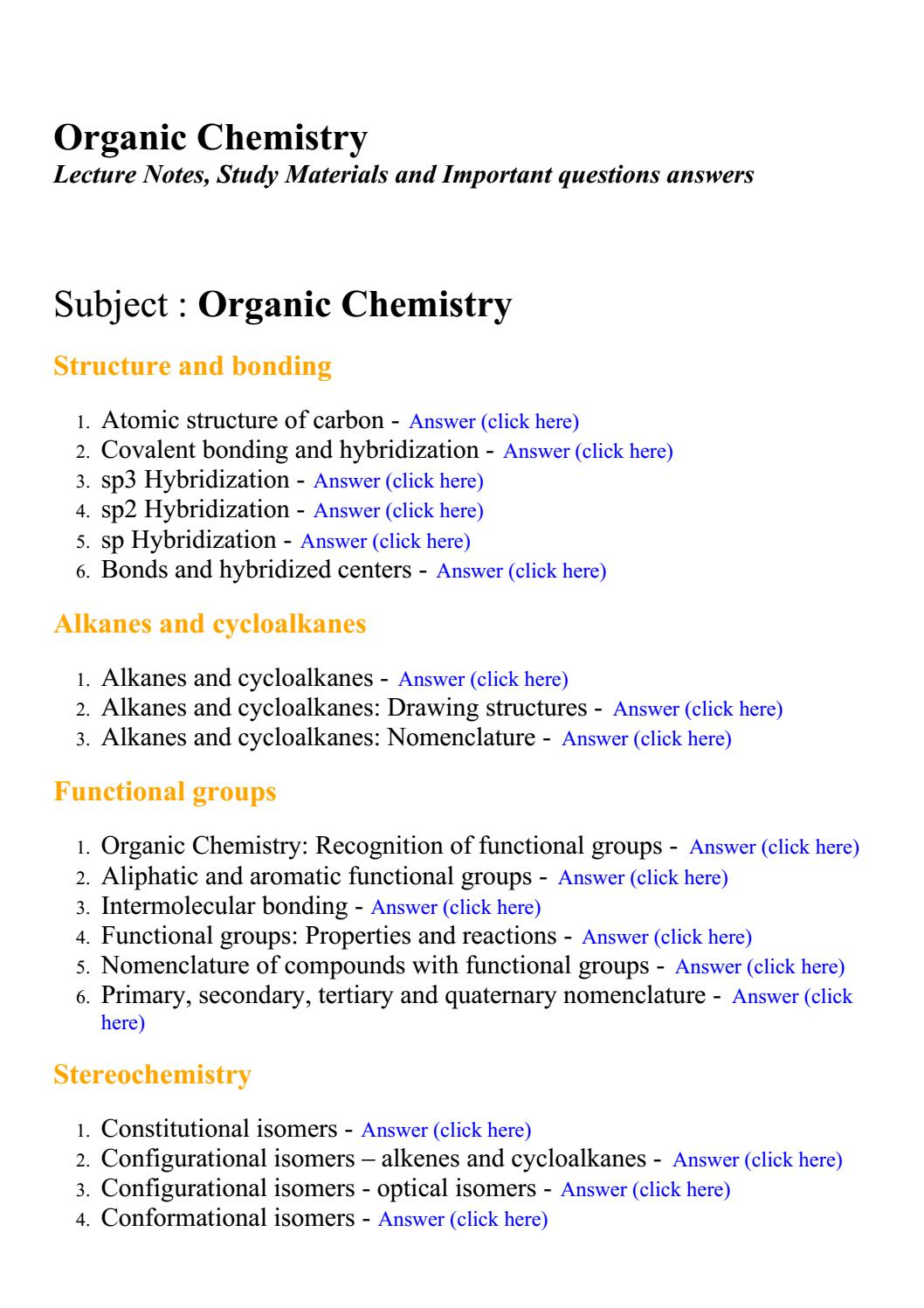 Organic chemistry - Lecture Notes, Study Materials and