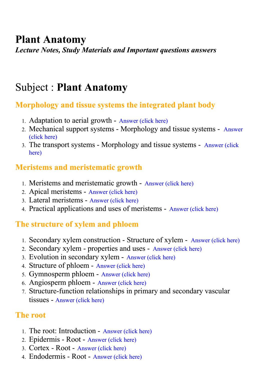 Plant anatomy - Lecture Notes, Study Materials and Important ...