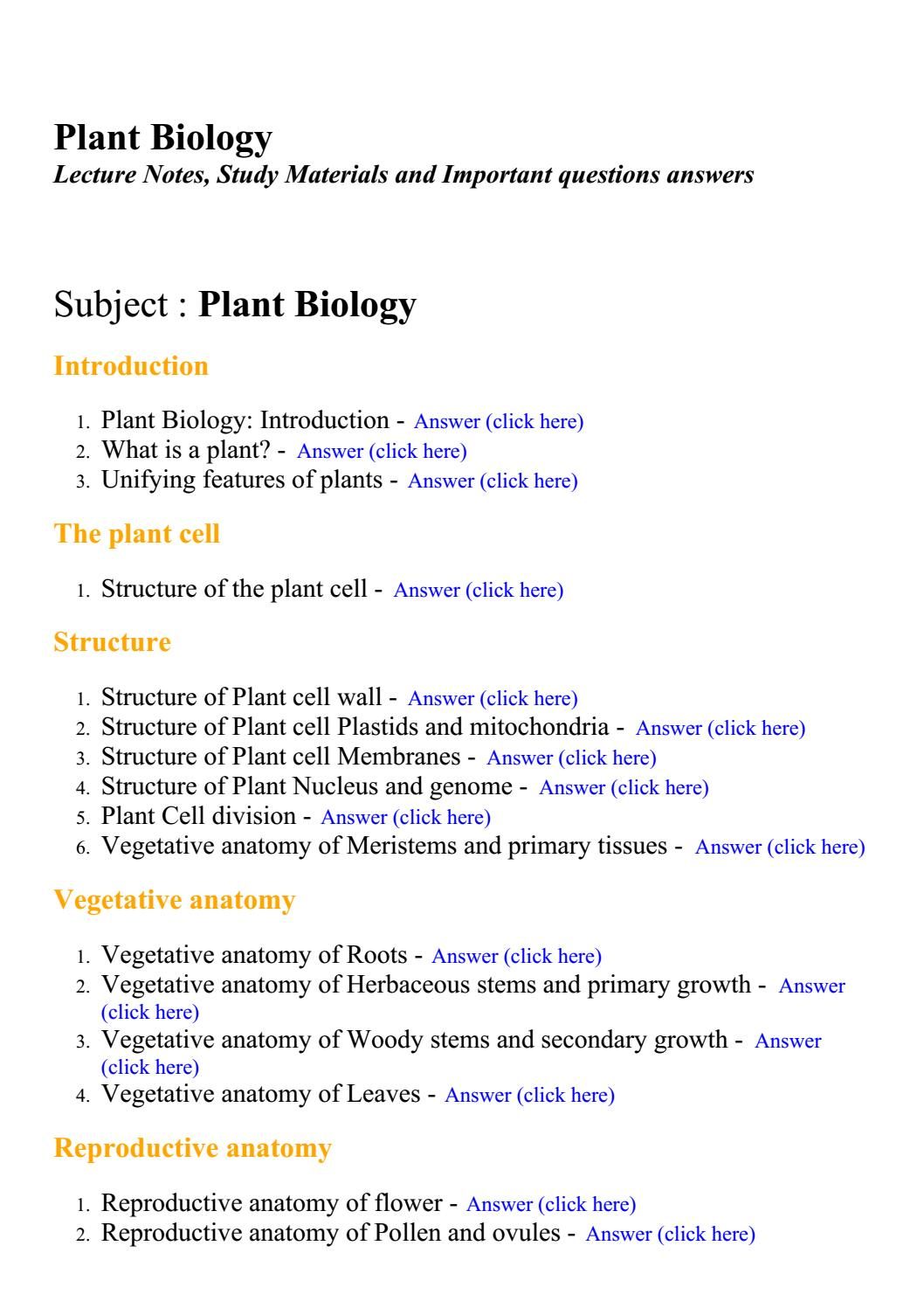 Plant biology - Lecture Notes, Study Materials and Important ...