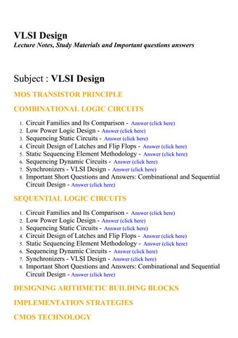 VLSI design - Lecture Notes, Study Materials and Important
