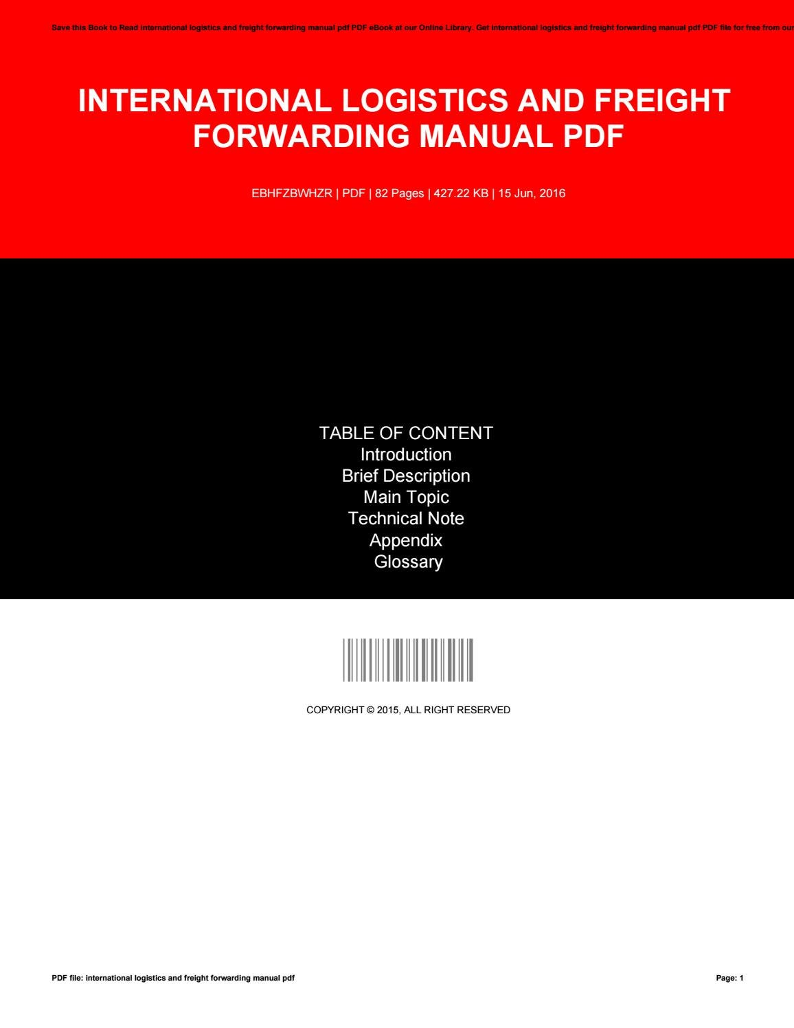 International logistics and freight forwarding manual pdf by e666 - issuu
