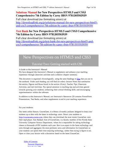 Solutions manual for new perspectives html5 and css3 comprehensive