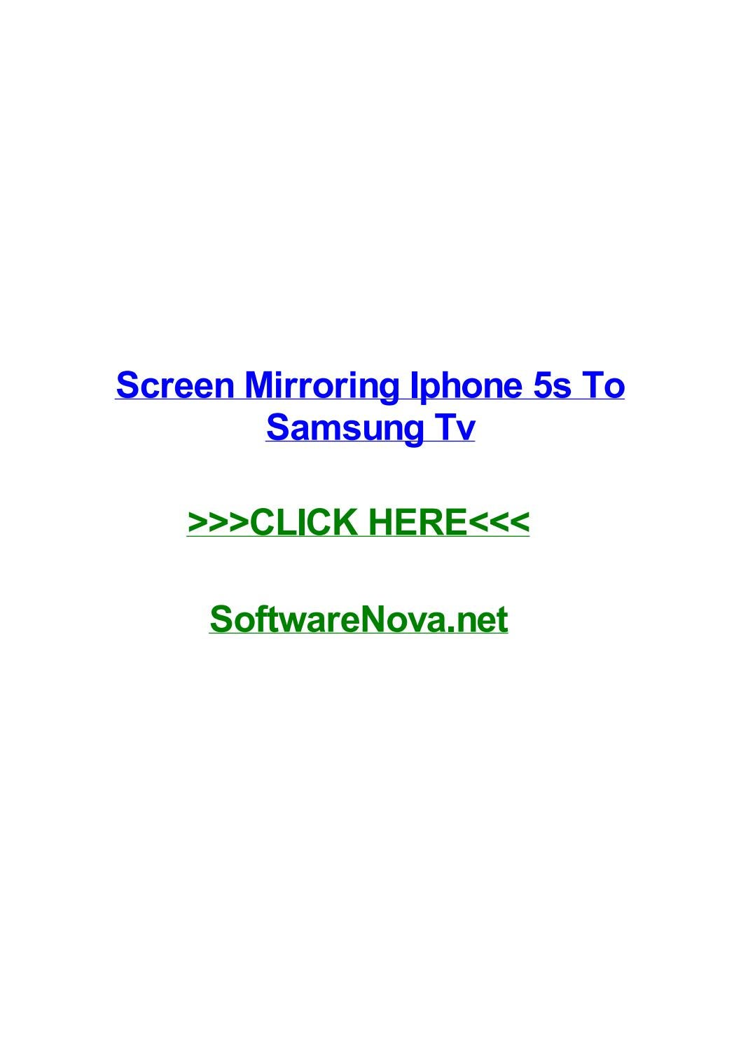 Screen mirroring iphone 5s to samsung tv by billyhjqe - issuu