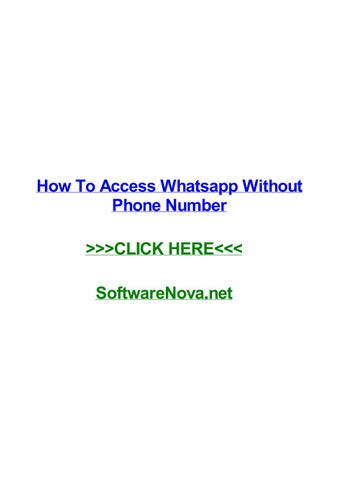 How to access whatsapp without phone number