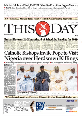 Saturday 12th May 2018 By Thisday Newspapers Ltd Issuu