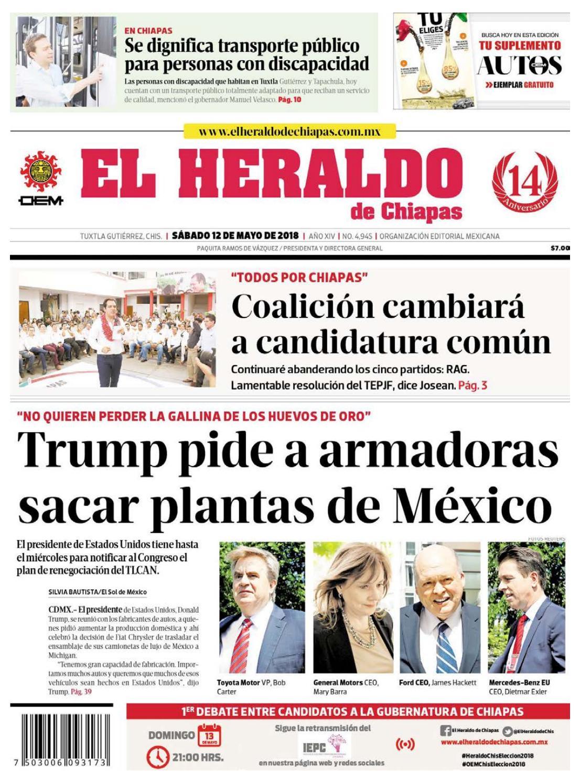 El Heraldo de Chiapas 12 de mayo de 2018 by El Heraldo de Chiapas - issuu