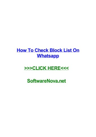 How To Check Block List On Whatsapp By Kenqysoy Issuu