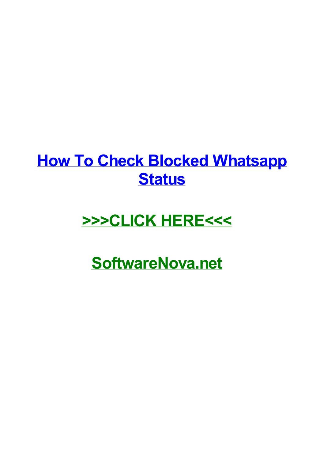 How To Check Blocked Whatsapp Status By Rodneypexzj Issuu