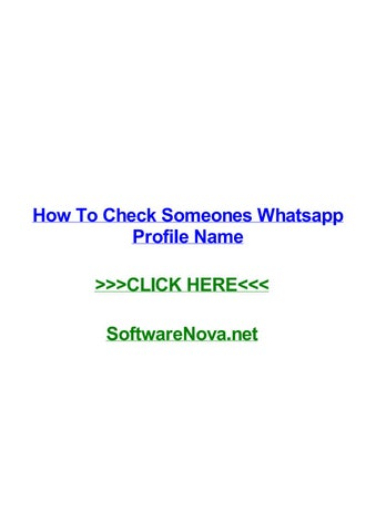 How to check someones whatsapp profile name by kristenuvhy