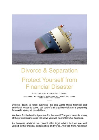 Protect yourself in divorce by robertrushford4 issuu divorce separation protect yourself from financial disaster risk families personal finance by robert rushford rushford matheson advisory melbourne solutioingenieria Images
