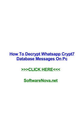 How to decrypt whatsapp crypt7 database messages on pc by
