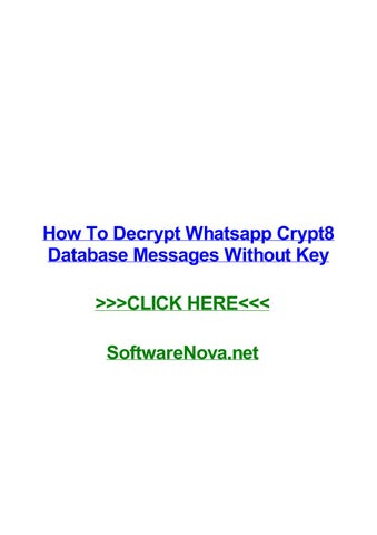 How to decrypt whatsapp crypt8 database messages without key