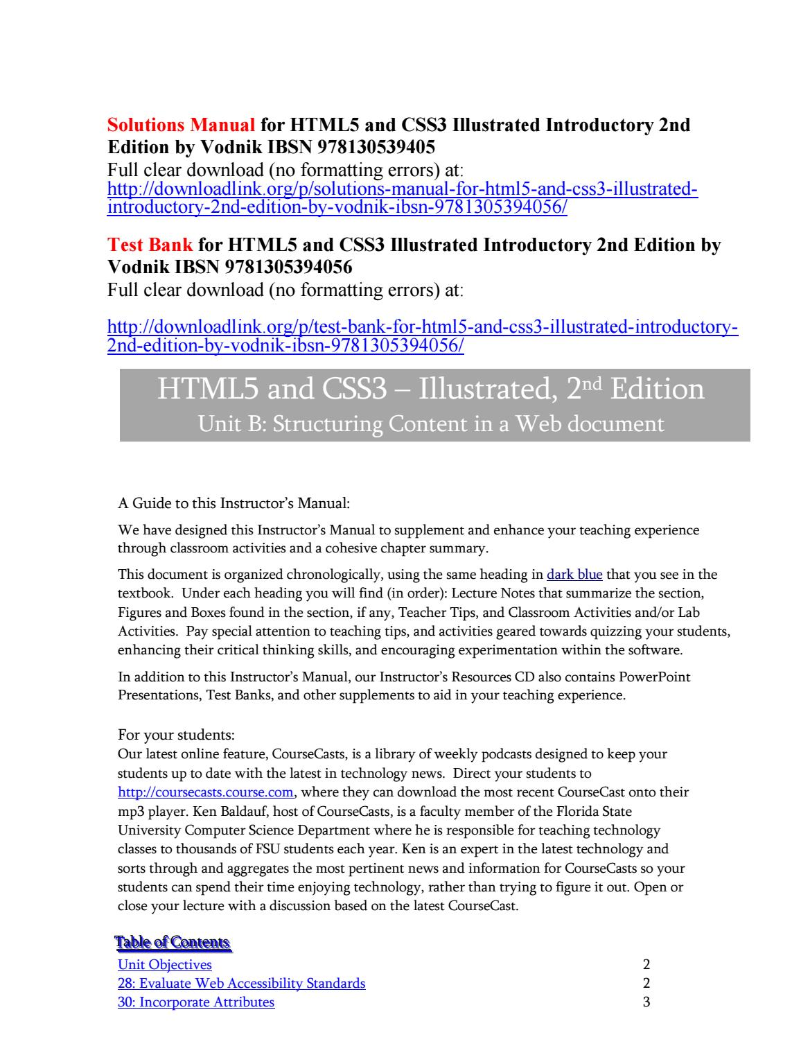 Solutions manual for html5 and css3 illustrated introductory 2nd edition by  vodnik ibsn 978130539405 by Vodnik7556 - issuu