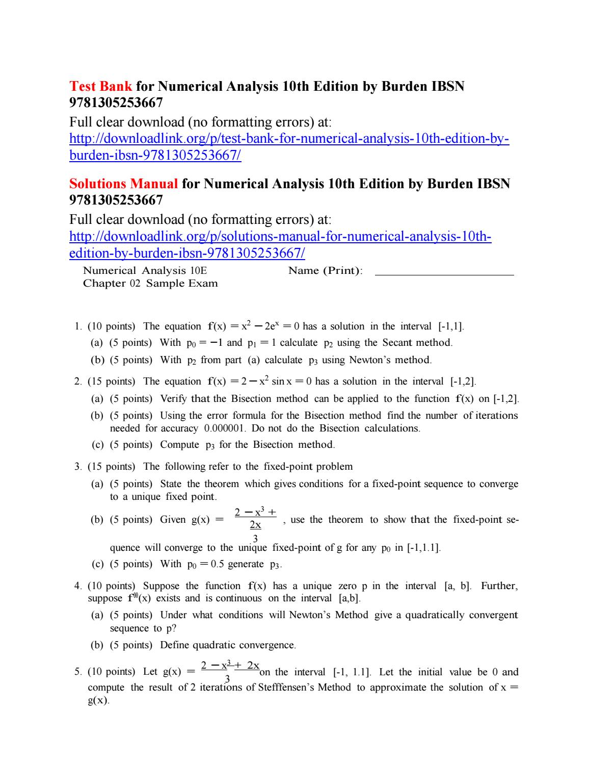 Test bank for numerical analysis 10th edition by burden ibsn 9781305253667  by Griffin7423 - issuu