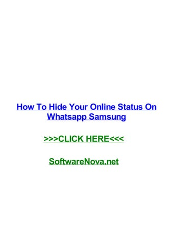 How To Hide Your Online Status On Whatsapp Samsung By