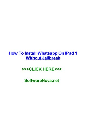 How to install whatsapp on ipad 1 without jailbreak by