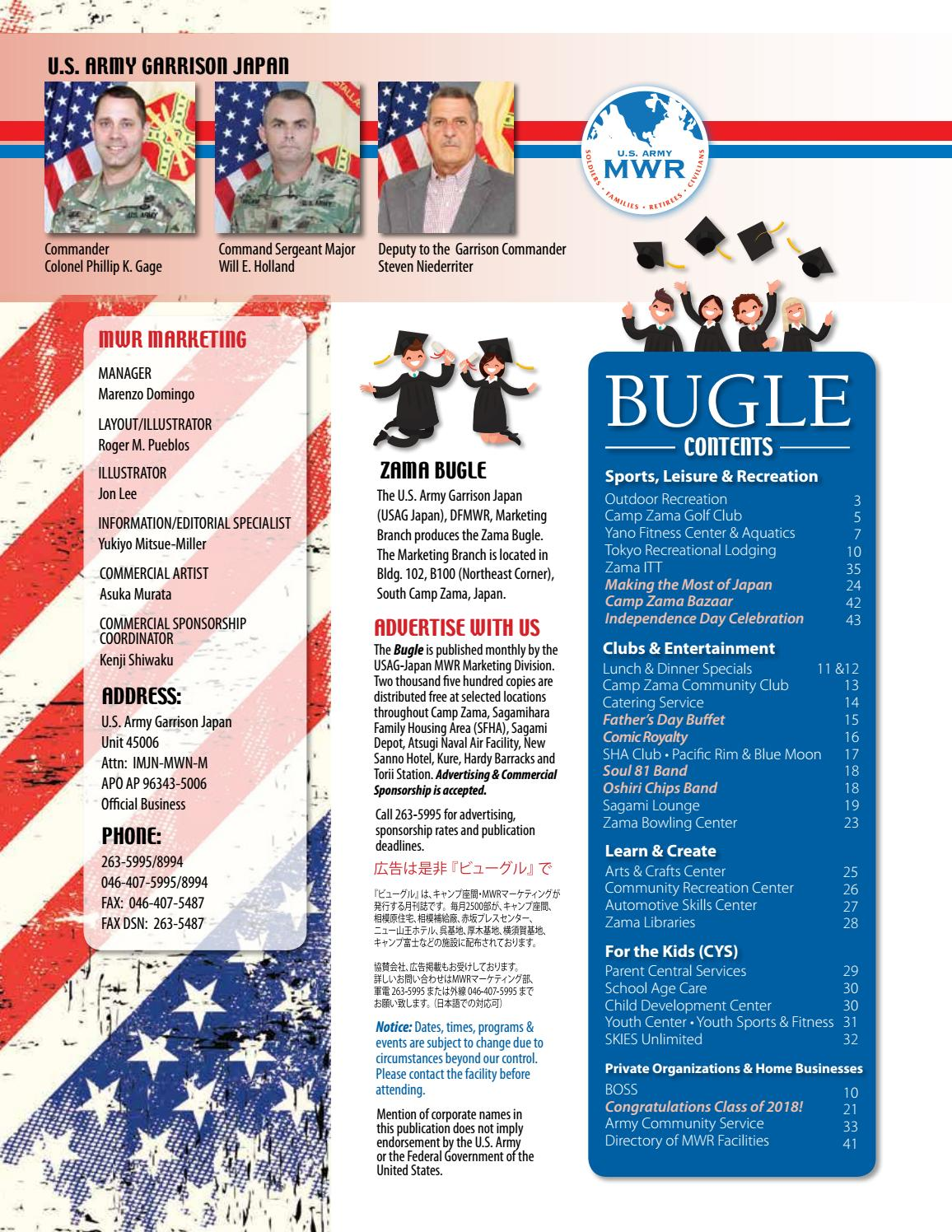 a91ea7db4a6 June 2018 Bugle by Camp Zama MWR Marketing - issuu