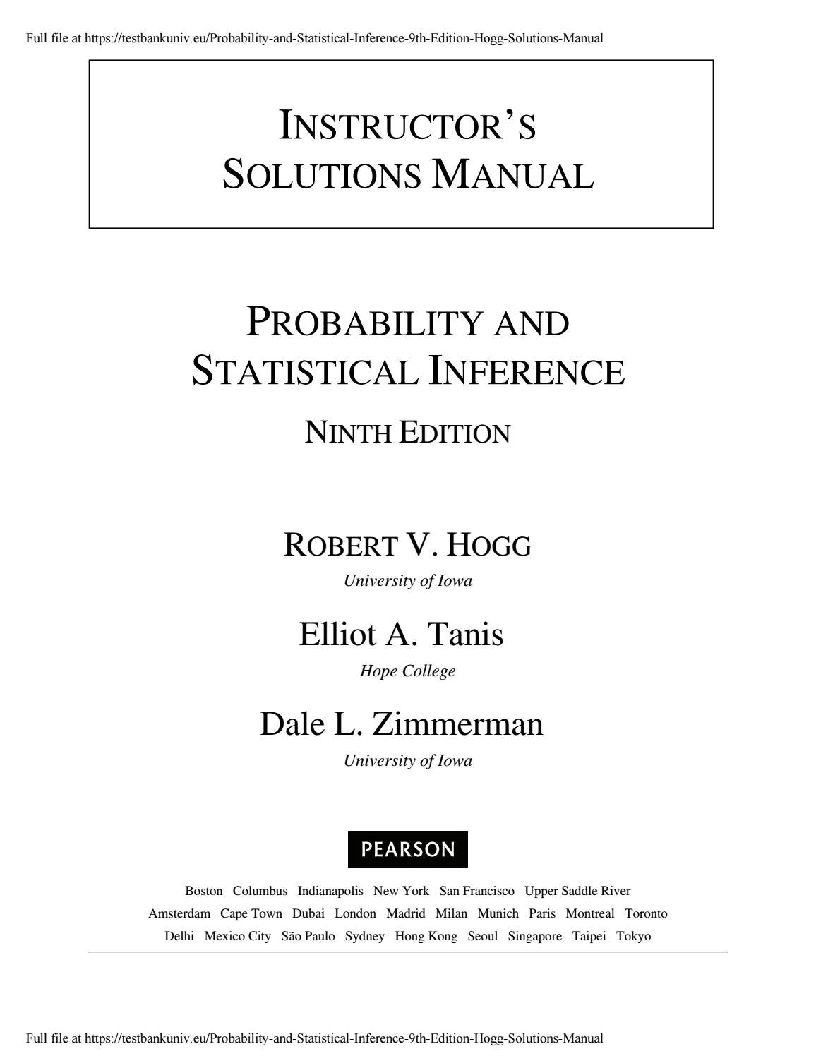 Probability and Statistical Inference 9th Edition Hogg Solutions Manual by  a304466171 - issuu