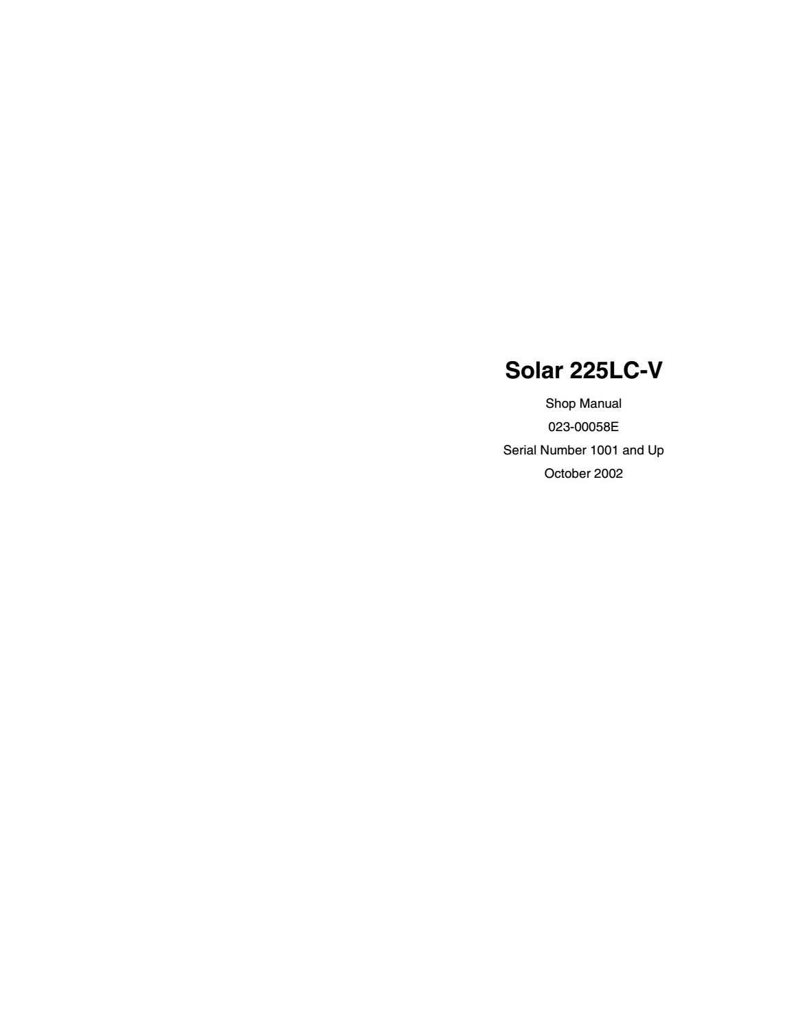 Doosan daewoo solar 225lc v excavator service repair manual sn:1001 and up  by 163757 - issuu