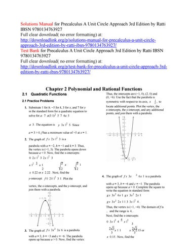 Solutions manual for precalculus a unit circle approach 3rd
