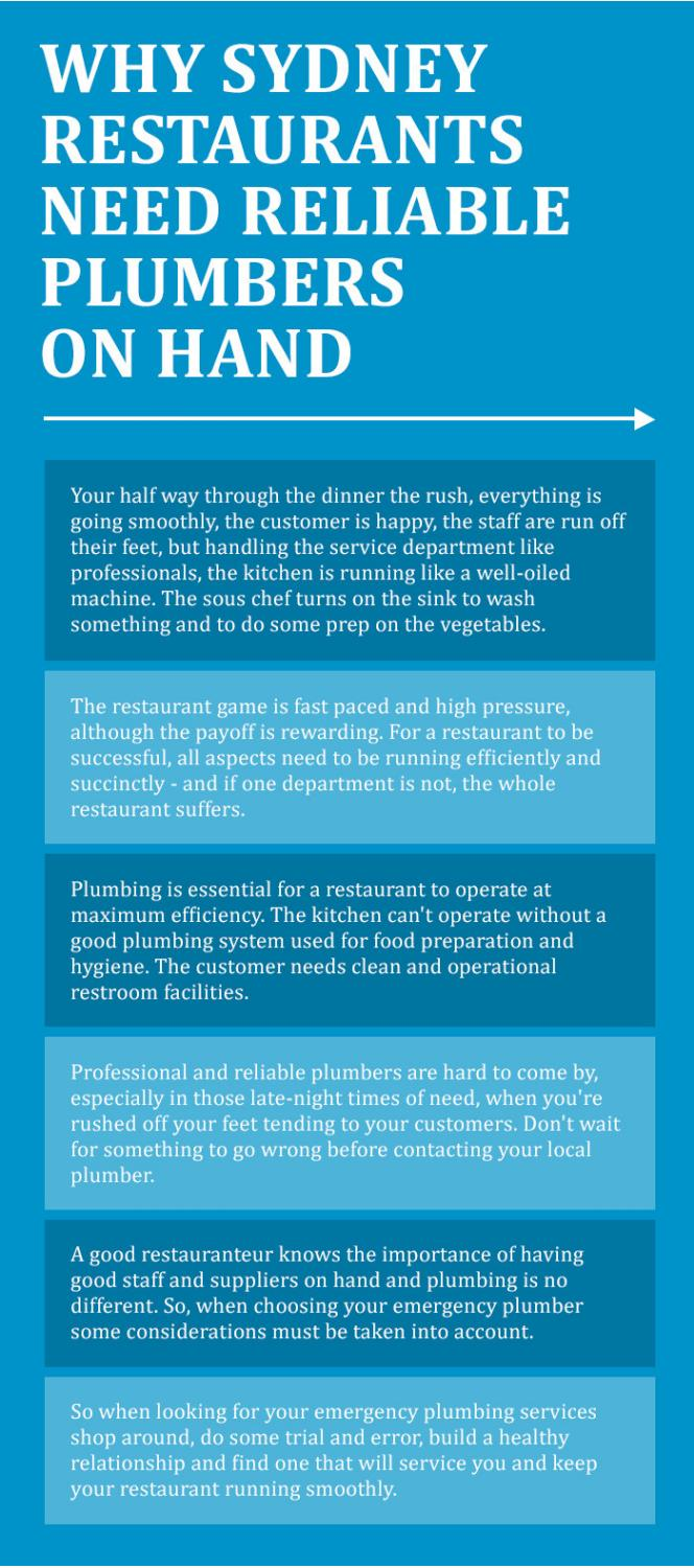 Why Sydney Restaurants Need Reliable Plumbers on Hand? by
