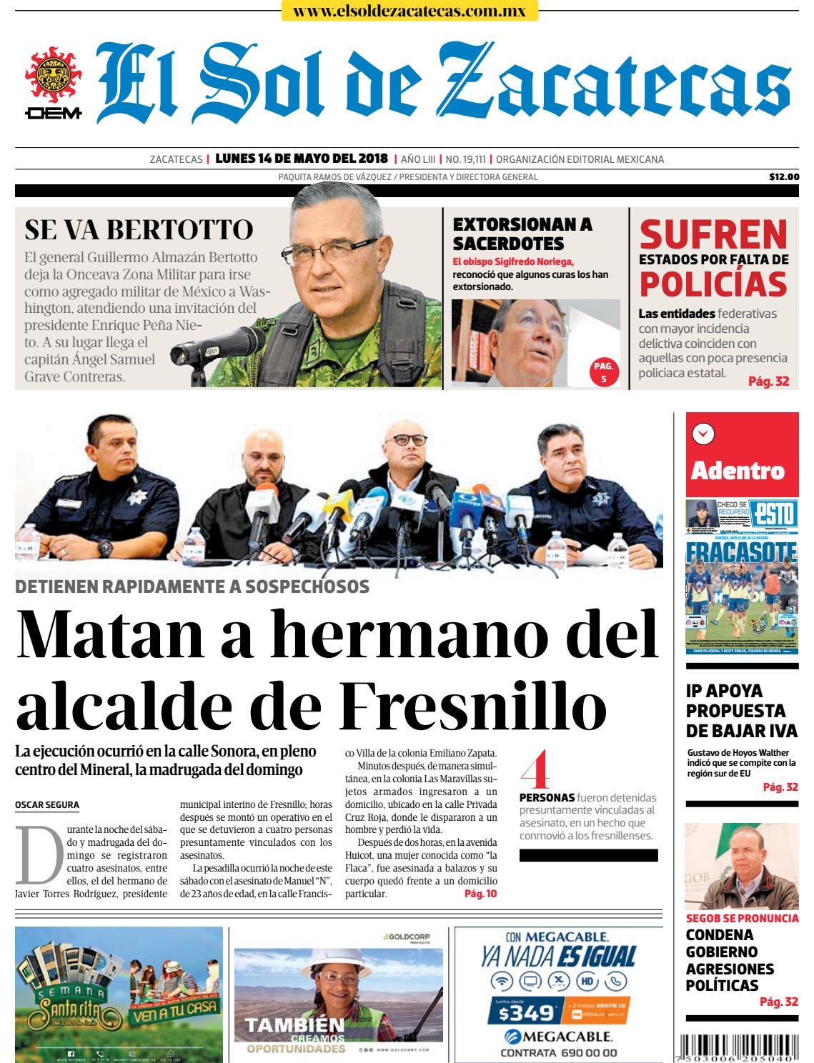 d6c1a1795fc7d El Sol de Zacatecas 14 de mayo 2018 by El Sol de Zacatecas - issuu
