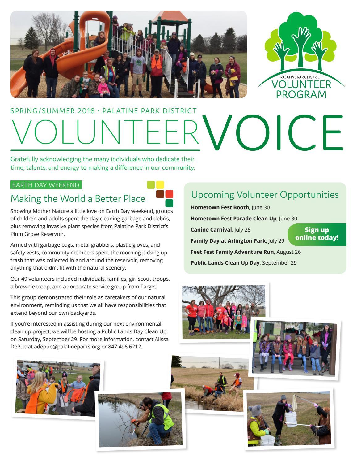 Palatine Park District | Volunteer Voice Newsletter (Spring/Summer