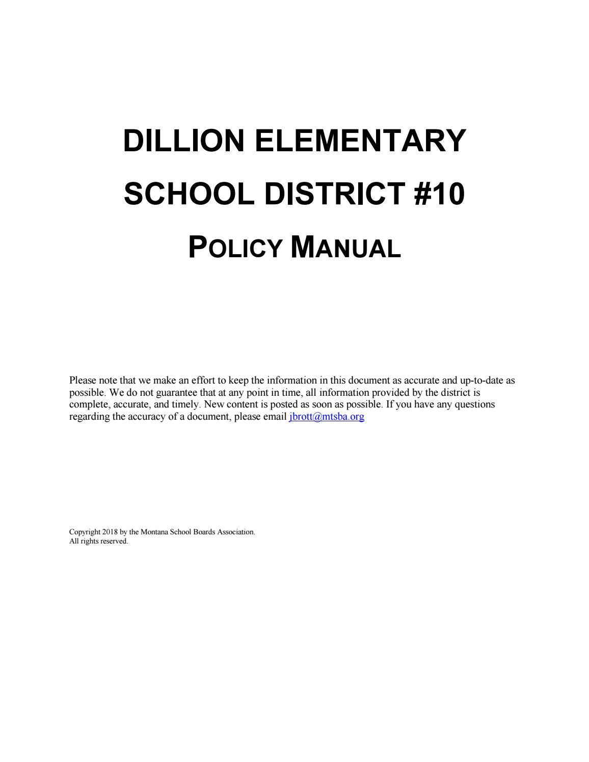 Dillon Elementary School District #10 Policy Manual by Montana School  Boards Association - issuu