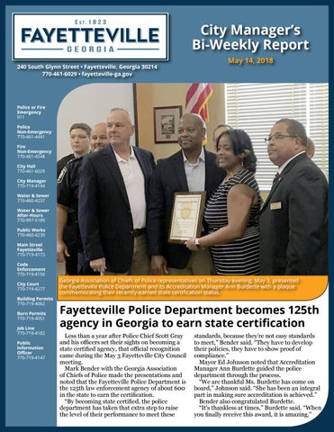 City of Fayetteville Bi-Weekly Report - May 14, 2018 by City of ...