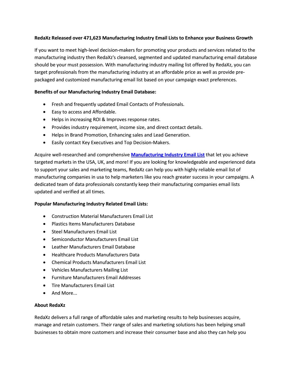 Manufacturing Industry Email List | Manufacturing Mailing