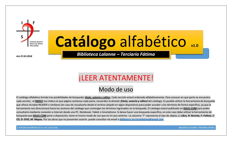 Catálogo alfabético v1 0 biblioteca terciario fátima (act 27 03 2018 ...