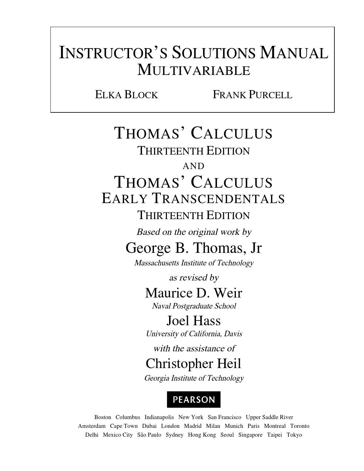 Thomas Calculus 13th Edition Thomas Solutions Manual by a394695247 - issuu
