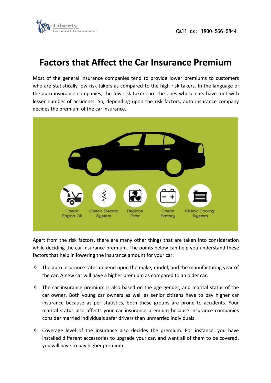 Factors That Affect The Car Insurance Premium By Liberty General Company Issuu