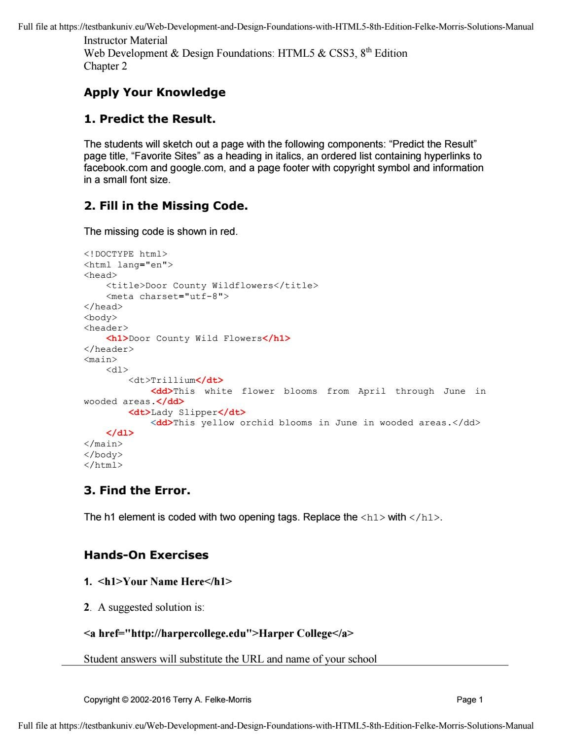 Web Development And Design Foundations With Html5 8th Edition Felke Morris Solutions Manual By A656556023 Issuu