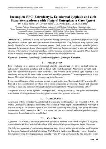 Incomplete EEC (Ectrodactyly, Ectodermal dysplasia and cleft lip