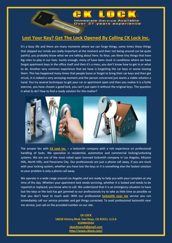 Lost your key get the lock opened by calling ck lock inc by