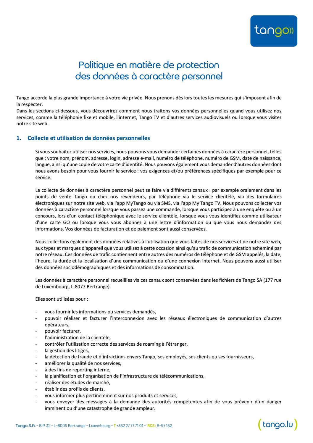 Politique en matière de protection des données à caractère personnel