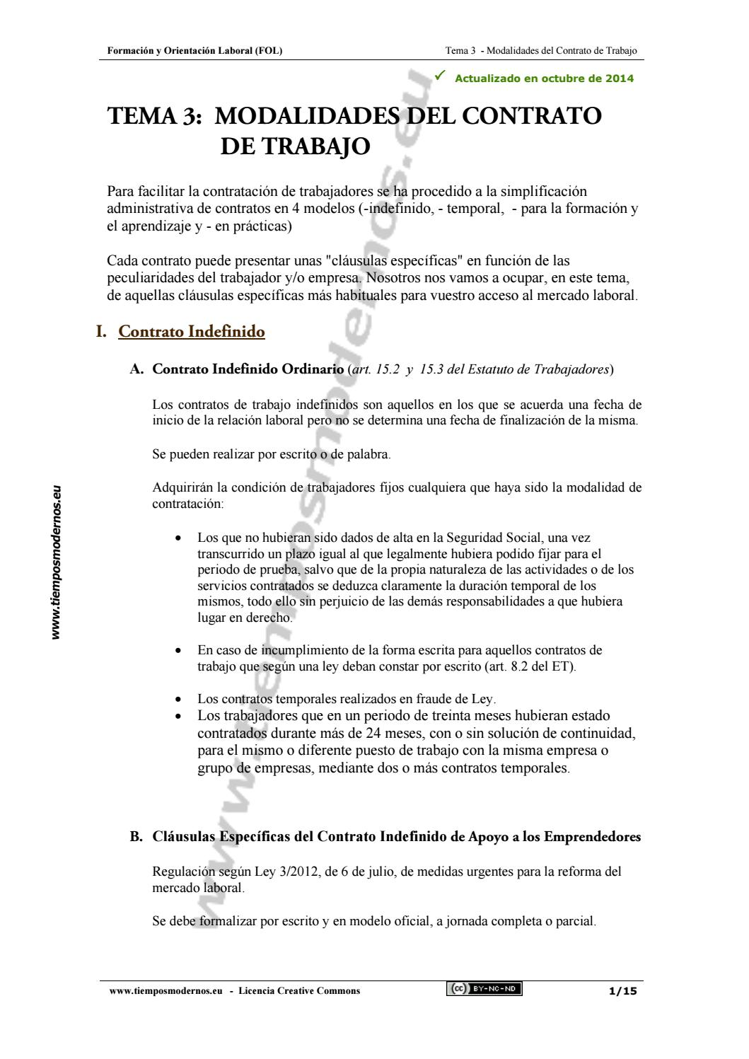 Tema 3 Fol Modalidades De Contrato De Trabajo By Lorenaa26 Issuu