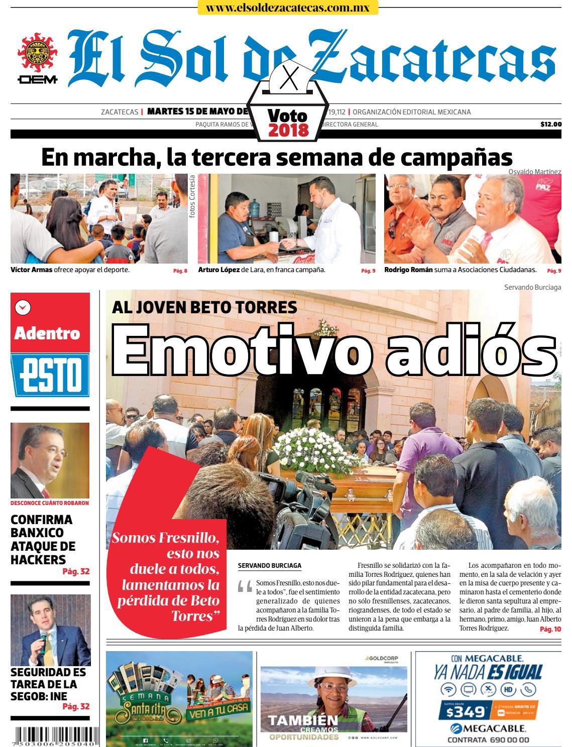 2bd77b6b1 El Sol de Zacatecas 15 de mayo 2018 by El Sol de Zacatecas - issuu