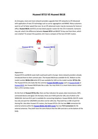 Huawei b715 vs huawei b618 lte router by Lte Mall - issuu