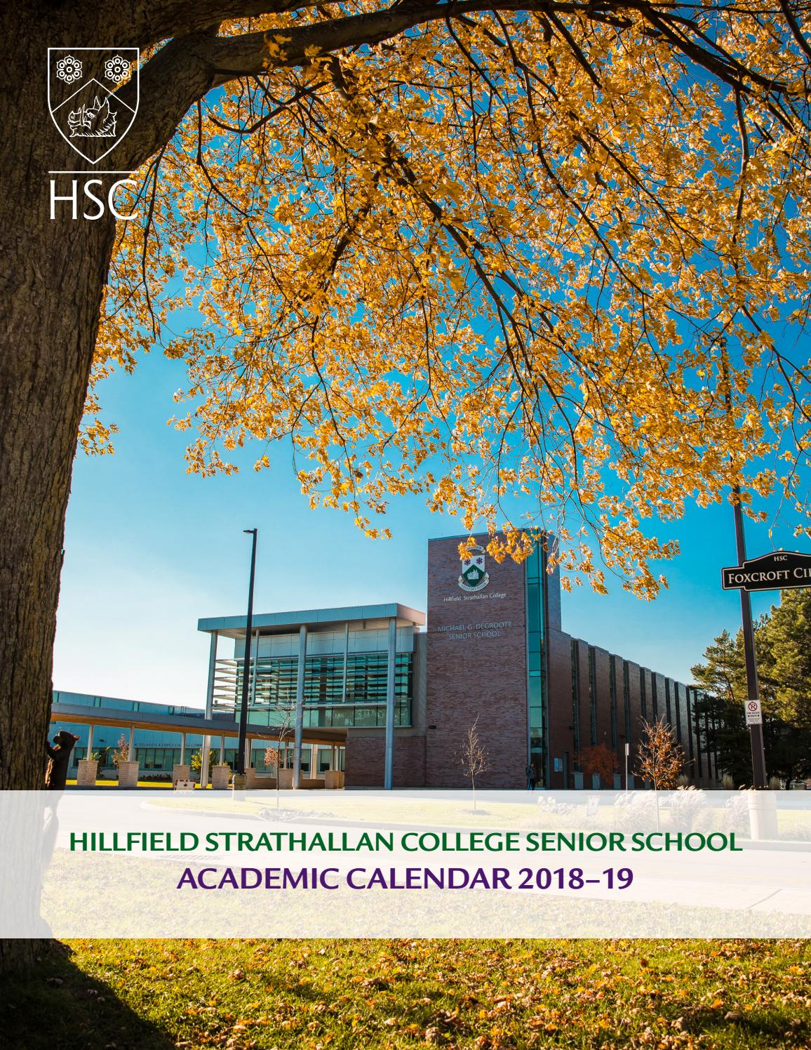 Senior School Course Calendar 2018-19 by Hillfield