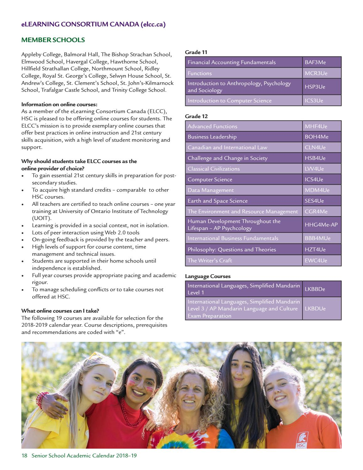 Senior School Course Calendar 2018 19 By Hillfield Strathallan