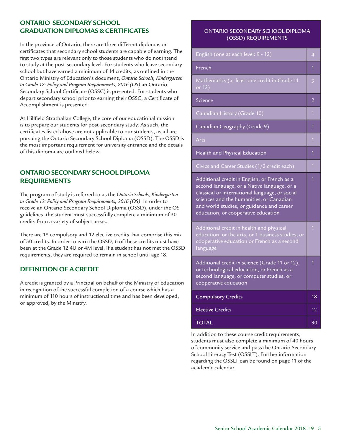 Senior School Course Calendar 2018-19 by Hillfield Strathallan
