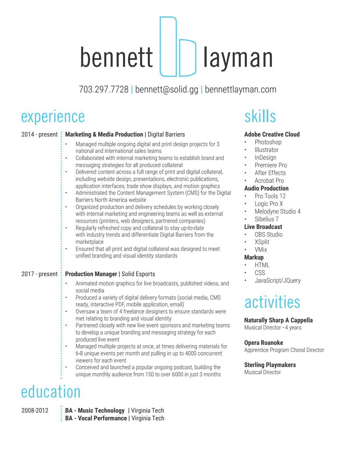 Bennett Layman Resume by blayman - issuu