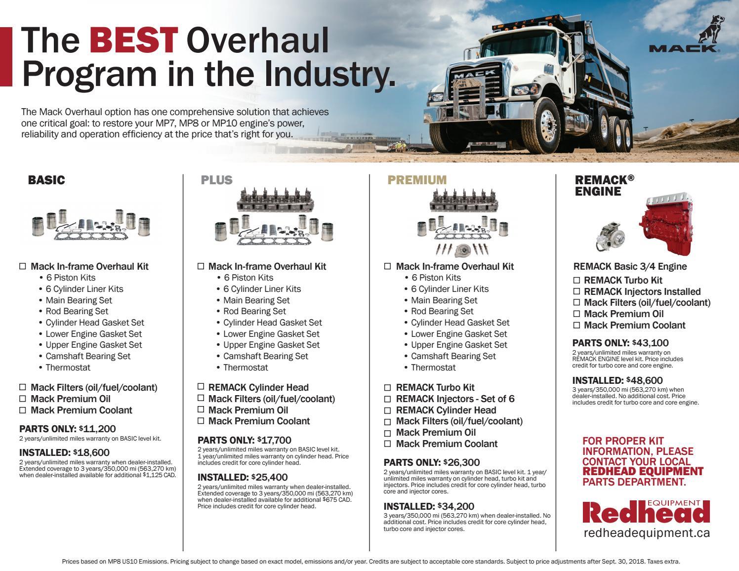 Mack Overhaul 2018 By Redhead Equipment Issuu Fuel Filters