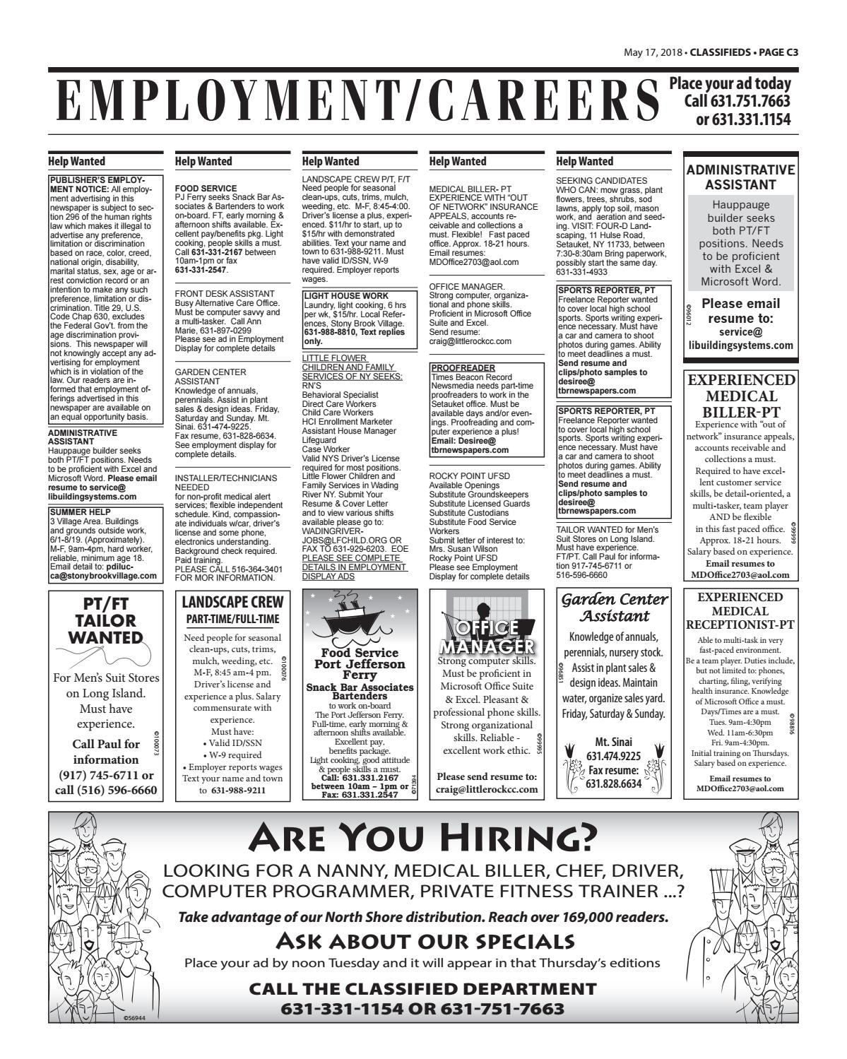 Employment/Careers - May 17, 2018 by TBR News Media - issuu